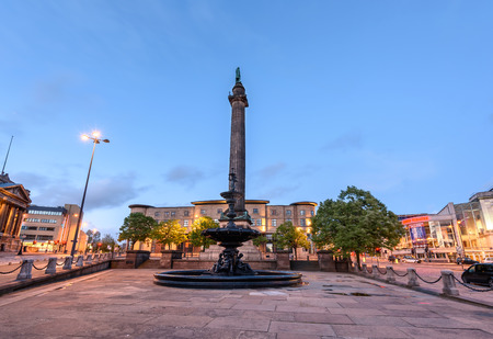 Fountain in front of Duke of Wellingtons column Lime Street Liverpool England Stock Photo