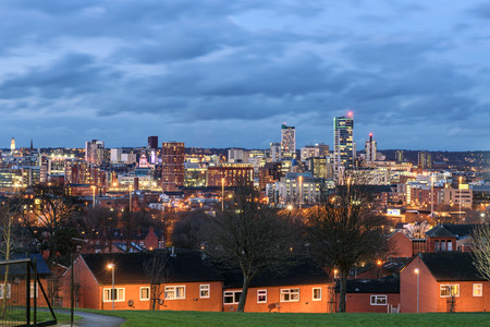 Leeds city skyline yorkshire united kingdom . Stock Photo