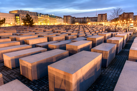 Panoramic view of famous Jewish Holocaust Memorial near Brandenburg Gate, Berlin, Germany