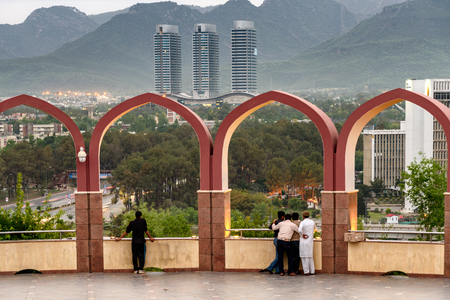 Islamabad city view through the arches from  Pakistan monument. Stock Photo