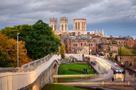 A view of York Minster from the city wall, England, UK