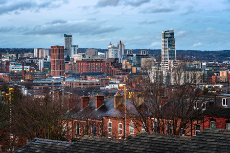 View of Skyscrapers,Houses and Leeds city Under a Cloudy Sky Stock Photo
