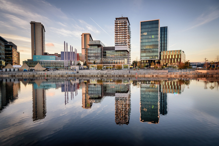 Panoramic view of Salford quay Manchester England