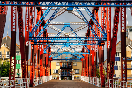 Iron bridge  at Salford Quays, Salford, near Manchester in north west England in the UK