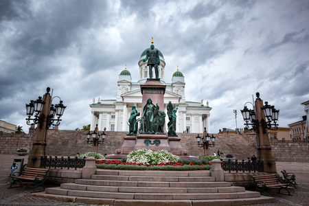 View of the Facade of the Helsinki Cathedral with the Bronze Statue of Alexander II in the Foreground