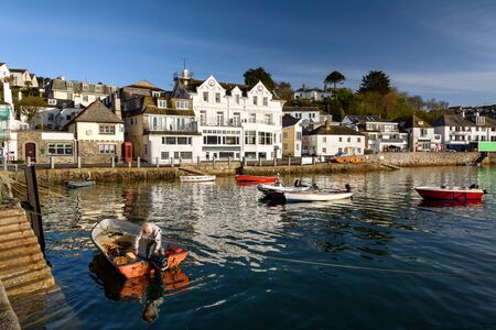 Boats in St Mawes fishing harbour Cornwall England UK