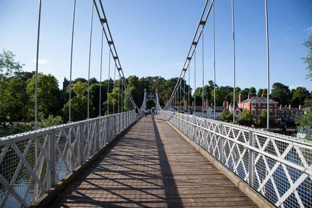 River Dee Suspension Bridge aka Queens Park Suspension bridge along the River Dee, Chester, Cheshire, England, UK,