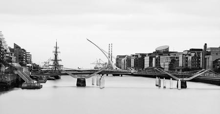 Black & white view of Samuel Beckett Bridge in Dublin