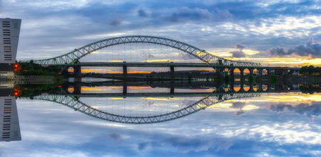 mersey: view of a major river crossing bridge The Mersey Gateway at Widnes, UK
