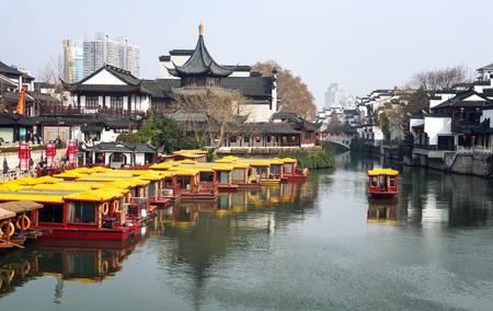 Nanjing  confucius temple with cruise boat on the beautiful qinhuai river ,China