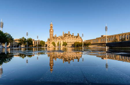 Bradford city Hall in City Park a town in west Yorkshire of England Stock Photo