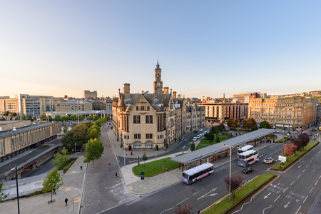 aerial view of Bradford city centre, Yorkshire, UK Stock Photo