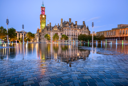 The beuatiful building of Bradford townhall at city park.