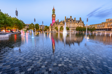 Clear water in a Bradford fountain ,the largest water feature of its type in the UK. Stock Photo