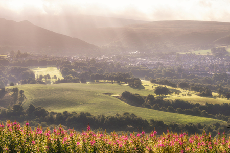 Golden light  in the Peak District, UK on a hazy summers morning.