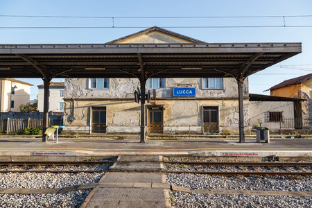 Old fashioned train station in Lucca Tuscany, Italy Stok Fotoğraf