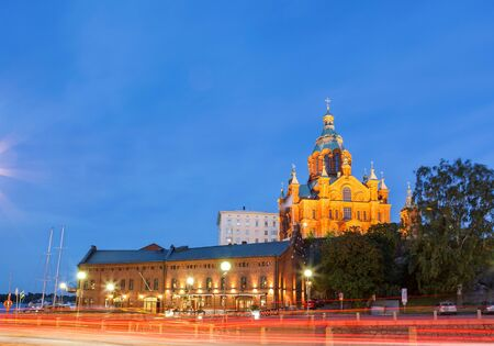 Uspenski Cathedral is an Eastern Orthodox cathedral in Helsinki, Finland, Stock Photo