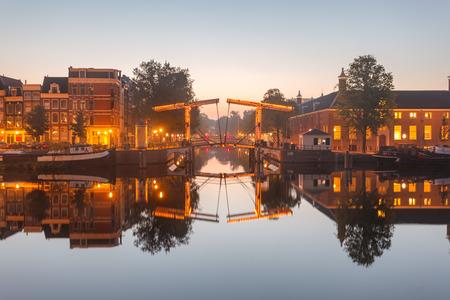 Cantilever bridge over Amstel river in Amsterdam, Netherlands.