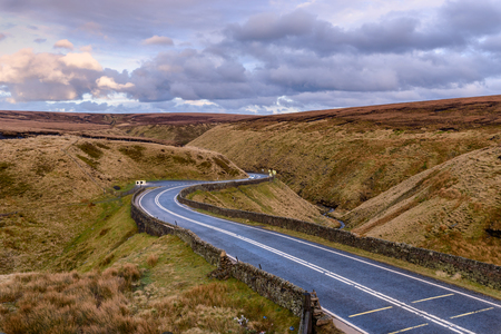 Picture of Winding road leading through a beautiful rugged landscape, North west England. Stock fotó - 96217386