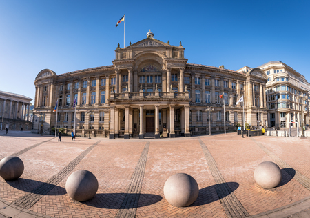 Victoria Square showing the stone spheres sculpture and Town Hall, Birmingham, West Midlands, England, UK Editorial
