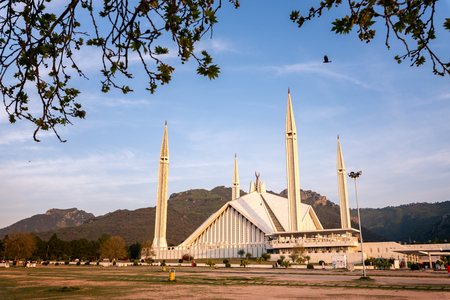 Facade view of Shah Faisal Mosque the landmark and largest mosque of south asia located in Islamabad Pakistan