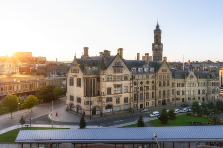 Aerial view of Bradford city town hall at sunset.