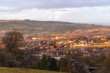 Aerial view of Accrington a small town in Lancashire UK Stock Photo
