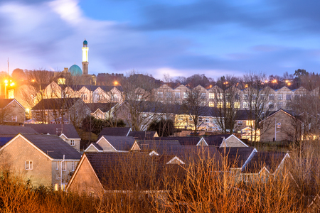 A mosque and new development of house in Accrington Town, Lancashire UK Stock Photo