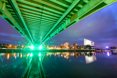 View of Millennium bridge from below, Salford Quays, Manchester, UK