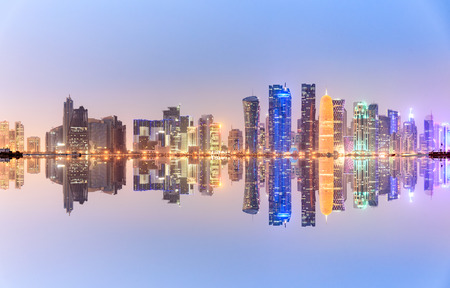 Doha skyline looks like futurist, the buildings architecture over the  Arabian Gulf .