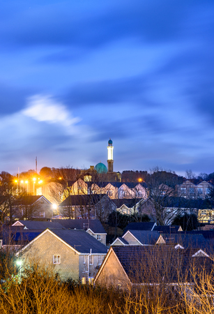 Nelson town  view with new Mosque Masjid Brierfield Nelson Lancashire UK