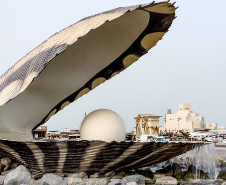 Nice and attractive monument of shell with white pearl,the entrance to the dhow harbour