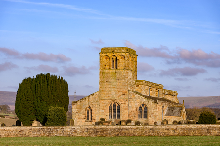 St Mary's Church Leake is a beautiful grade 1 listed church in the shelter of the North Yorkshire Moors. Stock Photo
