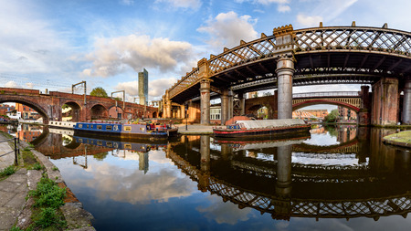 Panoramic view of castlefield basin in the city centre of Manchester, UK Editorial