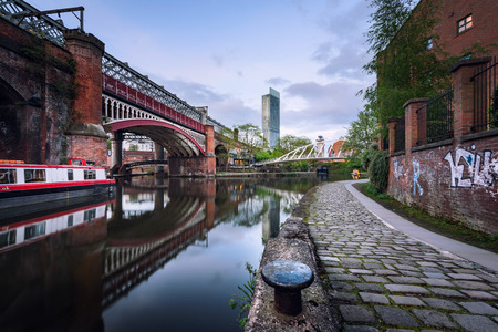 Bridgewater canal passing through castlefield basin in Manchester, UK.