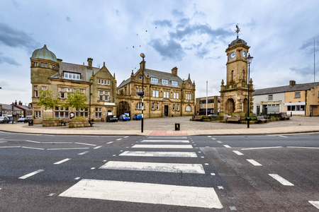 Town clock in the Lancashire market town of Great Harwood, Lancs, UK