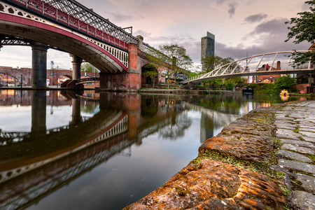 The Merchants Bridge  across bridgewater canal in the castlefield, Manchester, UK. Stock Photo