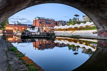 Framed view of Castlefield Bowl and Basin canal in Manchester, UK