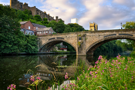 The framwellgate  bridge is of two shallow arches, in Durham city UK