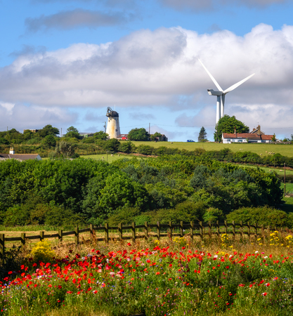 Beautiful landscape of Hartlepool and a turbine installed to generate electricity in UK.
