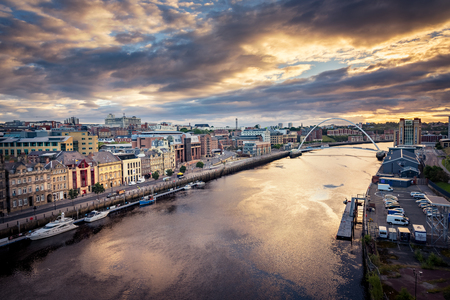 The River Tyne flowing through Newcastle upon Tyne Editorial