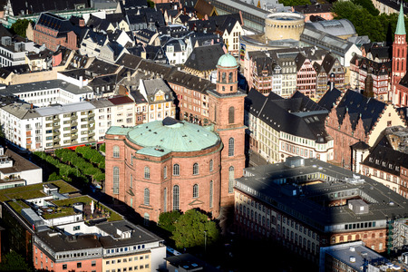 Aerial view of St Pauls cathedral in the centre of Frankfurt city.