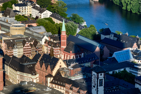 Aerial view of Romer and Nikolai church in the centre of Frankfurt city.