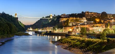 Clifton bridge panning across river Avon in Bristol, UK.