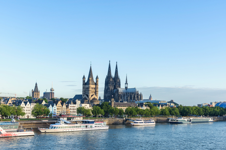 A landmark of High Gothic architecture set amid reconstructed old town, the twin-spired Cologne Cathedral is also known for its gilded medieval reliquary and sweeping river views. Stok Fotoğraf