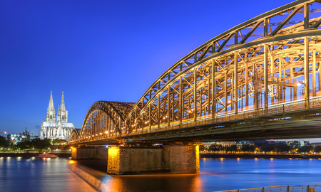 The Hohenzollern Bridge is a bridge crossing the river Rhine in the German city of Cologne Stock Photo