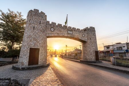 The Khyber Gate was built in 1964, at the mouth of the Khyber Pass, where the Jamrud Fort is also located near Peshawar city in Pakistan