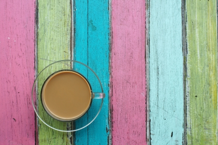 coffee with colorful wooden background  photo