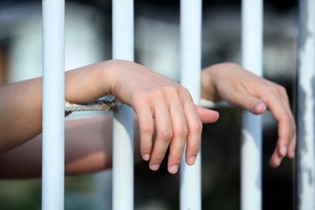 preso: mano en la c�rcel Foto de archivo