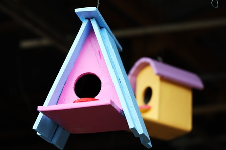 colorful wooden bird house  photo